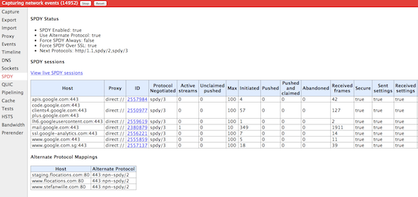 Chrome net internals spdy protocol